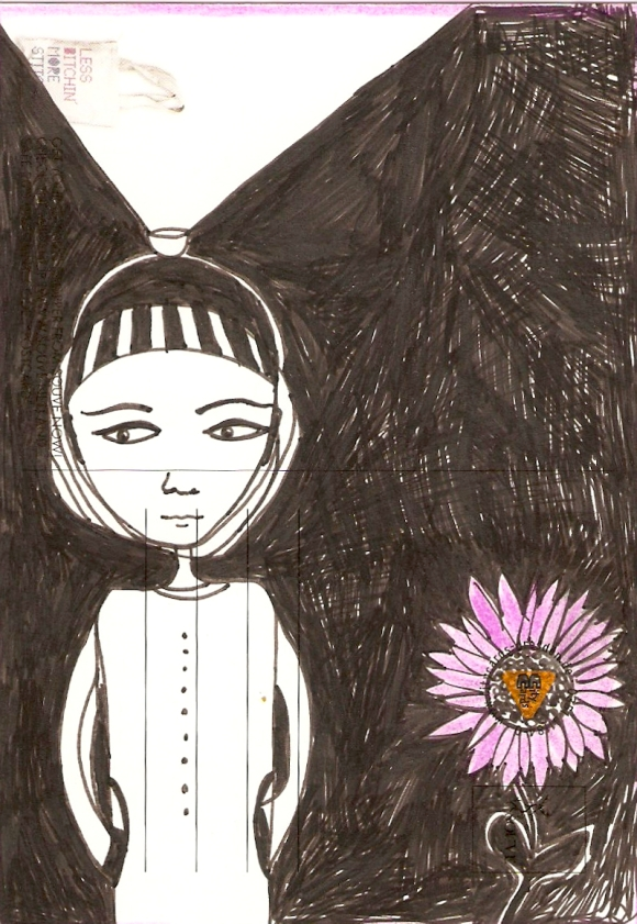 Girl with Pink Sunflower